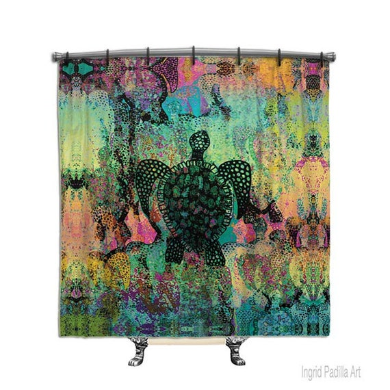 Sea Turtle Shower Curtain, Shower curtain, abstract art, shower curtains, Fabric shower curtain, Bathroom Decor, rainbow colors, sea turtles