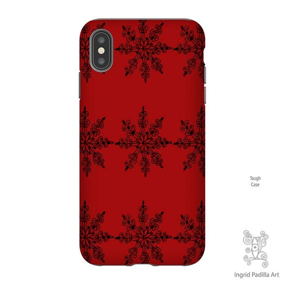 Snowflake Phone Case, Christmas Phone case, Red iPhone Case, iPhone XS Max Case, Christmas iPhone Case, Galaxy S9 Case, iPhone 8 Plus case
