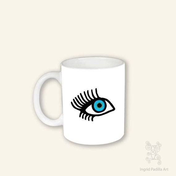 EyeLash mug, Coffee Mug with eye, Mug, Mug with eye, Pretty eye Mug, Face Mug, Blue Eye mug, Coffee Cup, eyelash coffee cup, eyelash mug