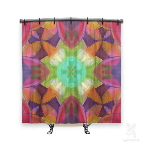 Mingo - BOHO Shower Curtain, Shower curtain, Pink shower curtain, Fabric shower curtain, shabby chic shower curtain