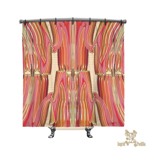 BOHO Shower Curtain, Shower curtain, artsy, Pink shower curtain, Boho curtain, Funky, Fabric shower curtain, Bath Decor, Home Decor