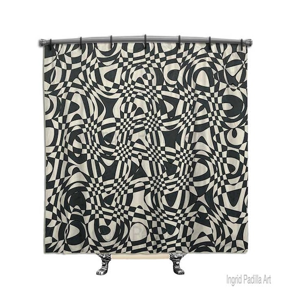 Retro shower curtain, Black shower curtain, shower curtain, Fabric shower curtain, Black and white shower curtain, Funky Shower curtain