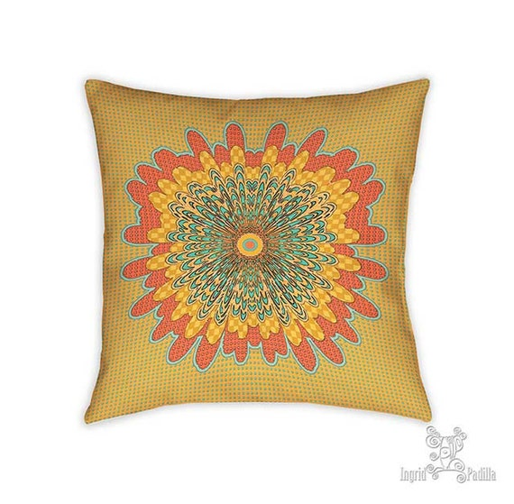 Holly pillow, Pillow, Decorative pillows, yellow pillow, throw pillows, accent pillow, throw pillow, boho pillows, whimsical, mandala pillow