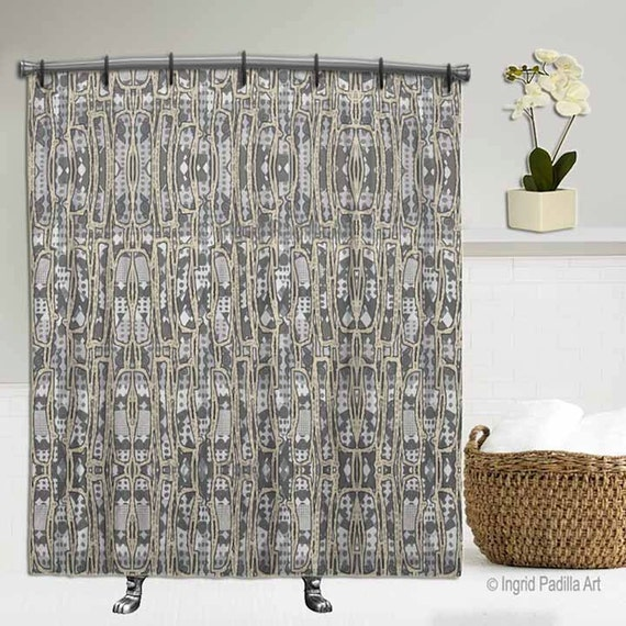 Geometric, Gray Shower curtain, shower curtain, bathroom art, fabric shower curtain, shower curtains, Funky art, abstract shower curtain