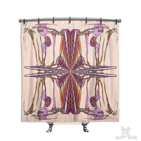 Mingo - BOHO Shower Curtain, Shower curtain, Pink shower curtain, Fabric shower curtain, shabby chic shower curtain