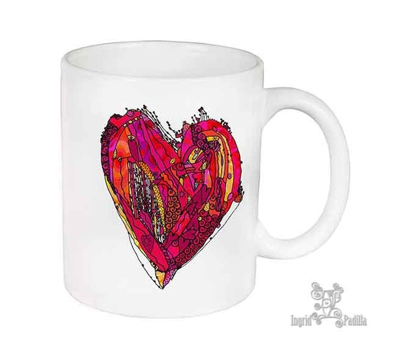 Heart Mug, Unique Mug, Coffee Mug, Funky, mug, coffee cup, Abstract, Art, Ingrid Padilla