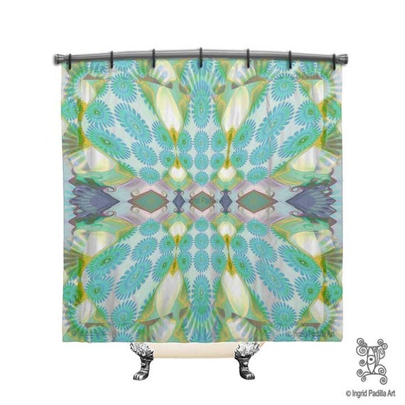 Turquoise Blue Shower Curtain BOHO Chic
