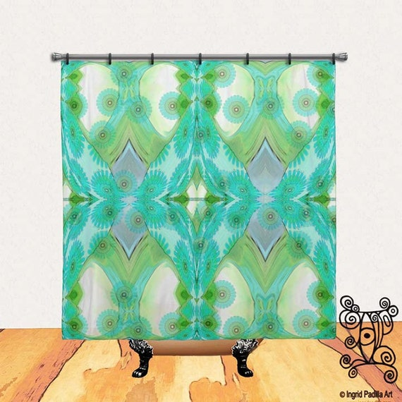 Floral, Turquoise Blue, BOHO, Chic, Custom, Printed, Fabric, Shower Curtain, Bath Decor, Home Decor, Funky, Art, by Ingrid Padilla