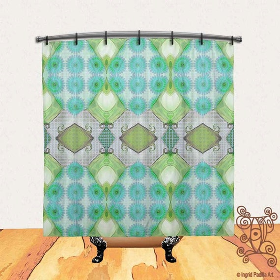 Turquoise Blue shower curtain, Shower Curtain, BOHO shower curtain, vintage shower curtain, Fabric shower curtain, shower curtains, pattern