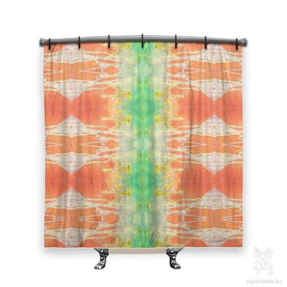 BOHO Shower Curtain, Shower curtain, orange shower curtain, shower curtains, Tangerine, Fabric shower curtain, shabby chic shower curtain