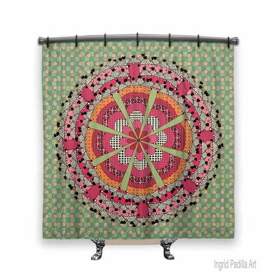 Mandala shower curtain, pink and green shower curtain, Fabric shower curtain, Mandala Art