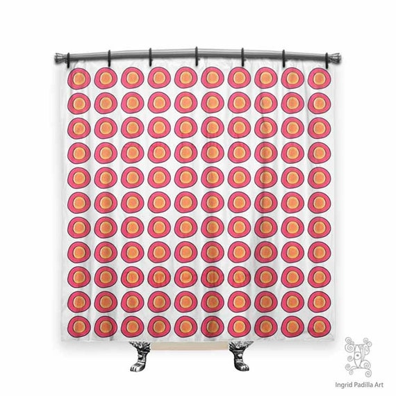 Pink and orange, Shower Curtain, Shower curtain art, cloth shower curtain, Polka Dot shower curtain, funky decor, retro shower curtain, Art