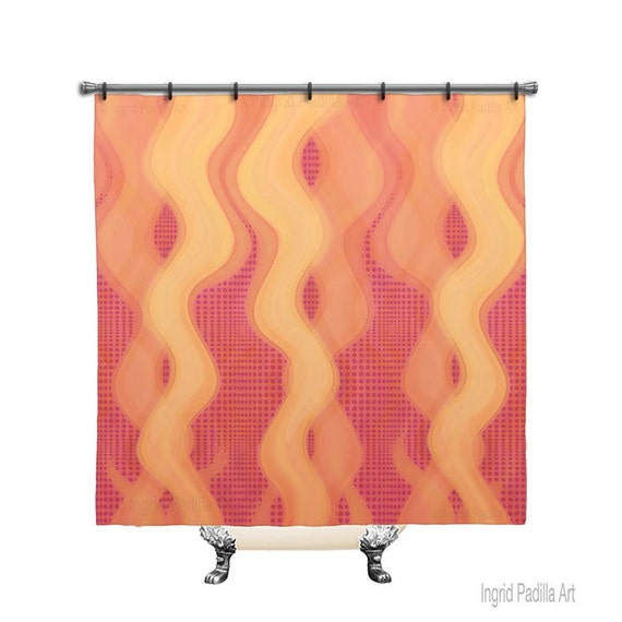 BOHO, polka dots, Custom, Pinks, reds, Printed, Fabric, Shower Curtain, Bath Decor, Home Decor, Funky, Abstract, Art, by Ingrid Padilla