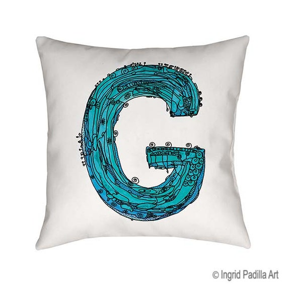 Blue, Letter G Pillow, Letter G, pillow, pillows, monogram pillow, throw pillow, letter pillow, Alphabet Art, throw pillows, Blue G pillow