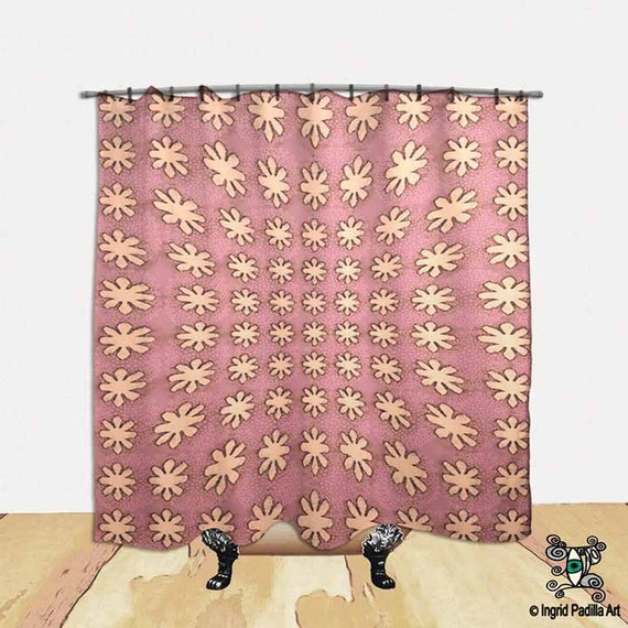 Pink, whimsical Shower Curtain, BOHO, Chic, vintage, decorative, Fabric, Bath Decor, Home Decor, Funky, Art, by Ingrid Padilla