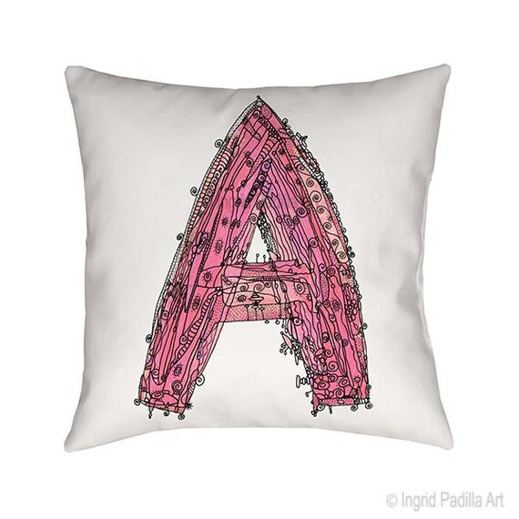 Pink Letter A Pillow, Letter A pillow, A pillow, pink letter A, pillow, pillows, Letter A pillows, monogram A pillow, throw pillow, letter A