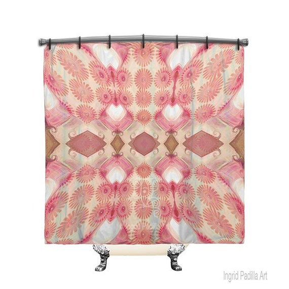 Pretty Pink, Shower Curtain, Boho shower curtain, Pink shower curtain, Fabric Shower Curtain, Bohemian decor, Shabby chic shower curtain