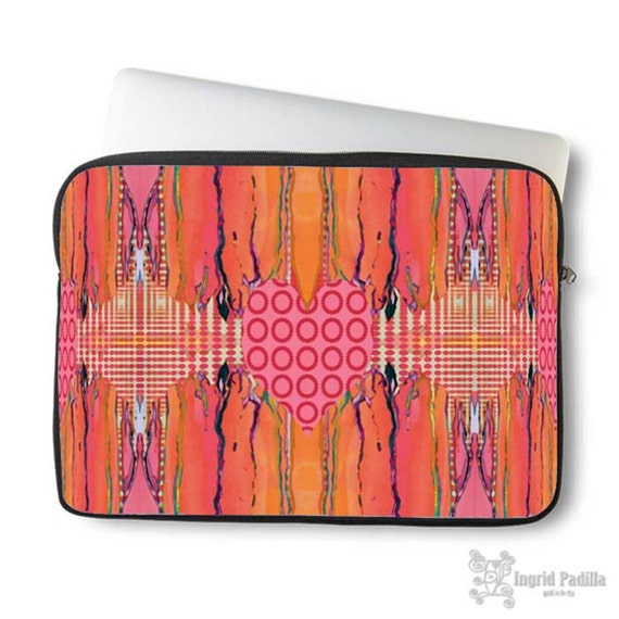Artsy, Heart, Laptop Sleeve, Laptop bag, laptop case, neoprene, macbook, sleeve, Macbook case, Laptop Cover, Abstract, Art on Laptop case