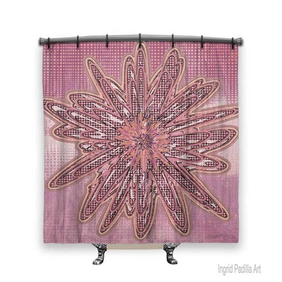 Boho shower curtain, Pink Shower Curtain, Shower curtain, floral shower curtain, Bathroom art, Boho Chic Decor, Funky shower curtain