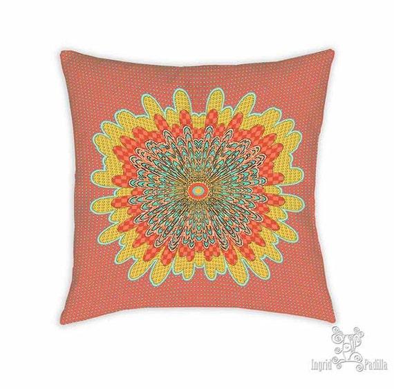 Molly pillow, Pillow, Decorative pillows, Red pillow, throw pillows, accent pillow, throw pillow, boho pillows, whimsical, mandala pillow