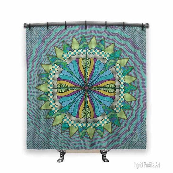 Mandala, BOHO Shower Curtain, Shower curtain, Mandala shower curtain, Turquoise shower curtain, Fabric shower curtain, Mandala Art, BOHO