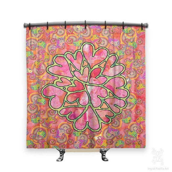 Paisley shower curtain, hearts, BOHO Shower Curtain, Shower curtain, whimsical shower curtain, Fabric shower curtain, dorm Decor, boho Decor