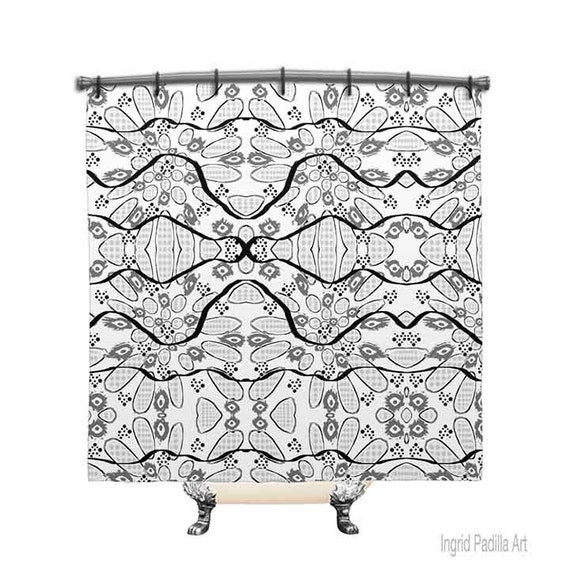 Black and White Shower Curtain, Shower Curtain, Gray Shower curtain, Fabric Shower curtain, Bath Decor, White Shower Curtain, Decor, Art