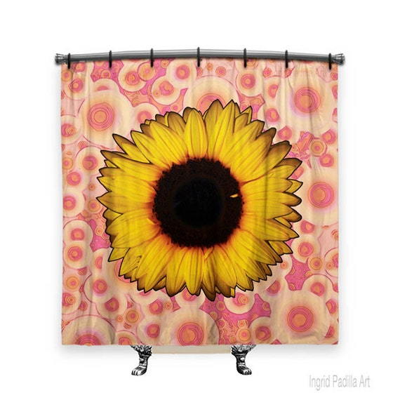 Sunflower Shower Curtain, Shower curtain, Pink shower curtain, Boho curtain, Fabric shower curtain, Bath Decor, Boho Chic Decor