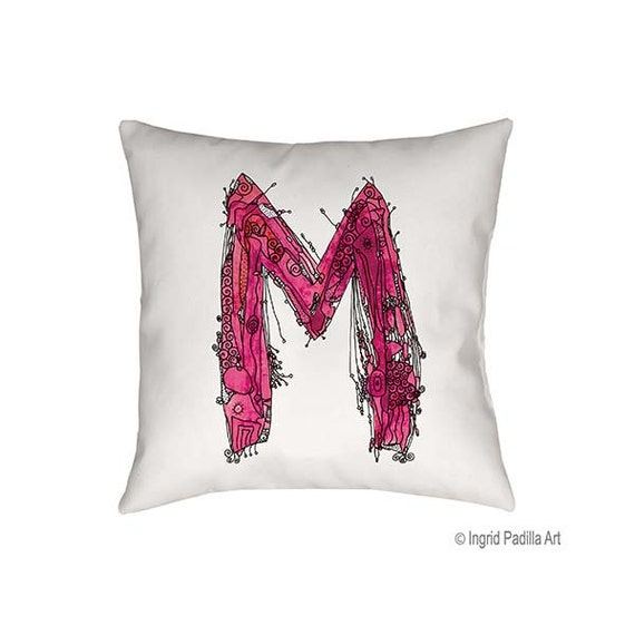 Whimsical art, Letter M Pillow, Decorative pillow, throw pillow, pillow, pillows, monogram pillow, m letter, alphabet pillow, Alphabet Art