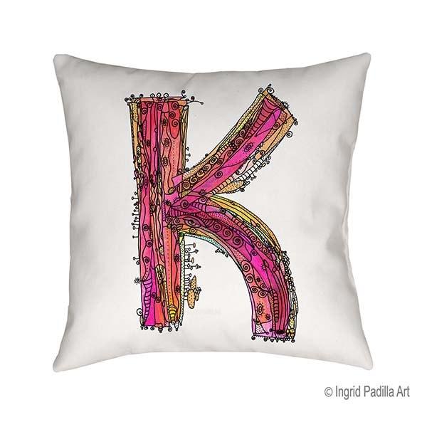 Whimsical Letter K Pillow Decorative Pillow Pillow Pillows Inspiration Funky Decorative Pillows