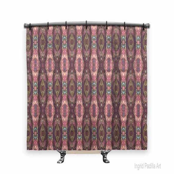Burgundy, Shower curtain, BOHO Shower Curtain, fabric shower curtain, Vintage shower curtain, shower curtain art, Bath Decor, Boho Chic