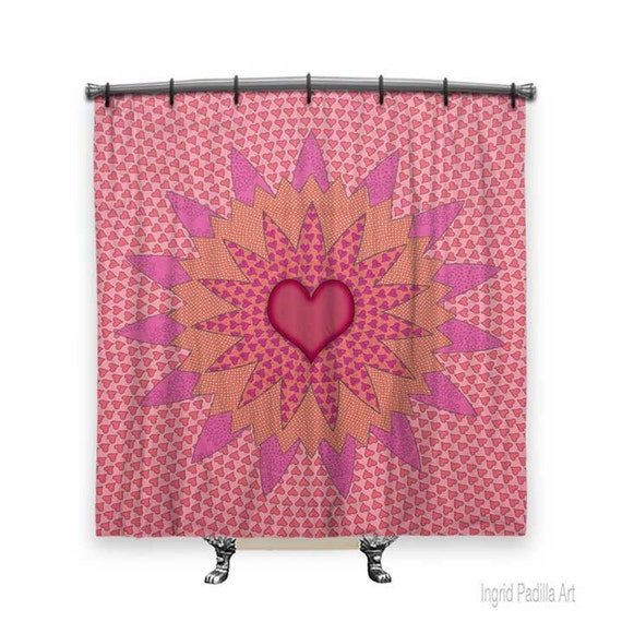 BOHO Shower Curtain, Girls Shower curtain, shower curtain art, Pink shower curtain, shower curtain for kids, Bath Decor, Boho Chic Decor