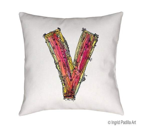 Whimsical V Pillow, Decorative, V monogram pillow, Illustration, funky, typography, Alphabet Pillow, Art, Print, Ingrid Padilla