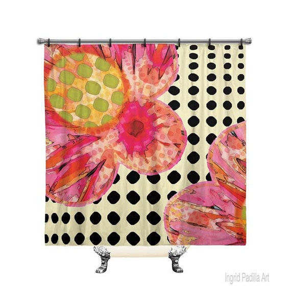 Floral Shower Curtain, Shower Curtain, Polka dot shower curtain, Shower curtain art, Flowers, Fabric shower curtain, Pink Shower curtain