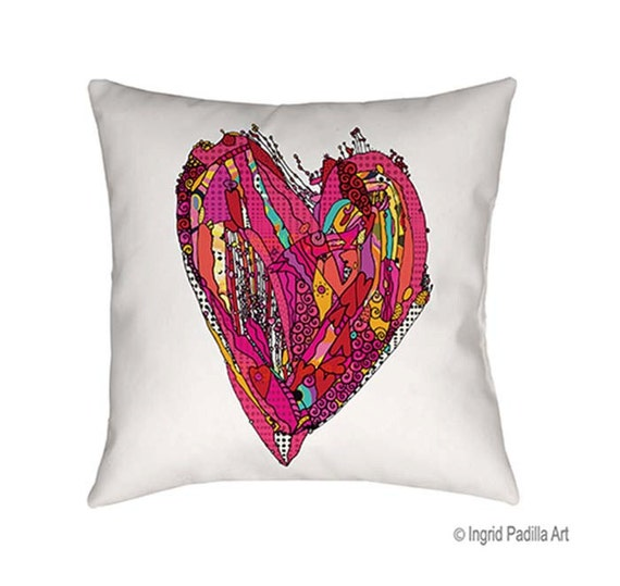 Heart Pillow, Decorative, pillow, throw pillow, whimsical heart, Illustration, funky, Artsy pillow, Art, Printed, fabric, Ingrid Padilla