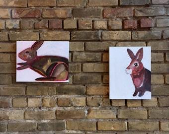 original 14x11, rabbit painting on canvas