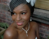 Side Gather birdcage veil with feather fascinator