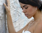 Basic Birdcage Bandeau  Wedding Veil with pearls