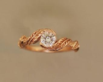 engagement ring, alternative engagement ring, leaf engagement ring, branch ring, twig ring, moissanite engagement ring, diamond twig ring