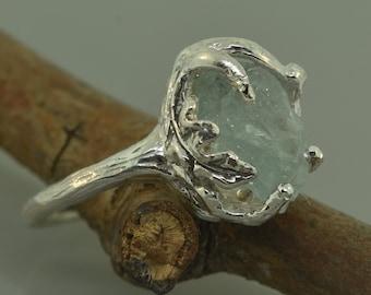Twig ring, Raw Aquamarine Ring, Rough Stone Ring,silver twig ring, raw stone ring, Aquamarine Ring, are stone ring, leaf ring. chunky ring