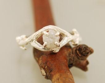 Bud Branch Oval with Rough Diamond,raw diamond ring, engagement ring, twig diamond ring, twig rough diamond ring, rough diamond ring,