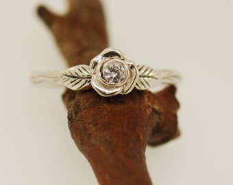 Leaf engagement ring, alternative engagement ring, rose ring, white sapphire ring, elvish engagement ring, branch ring, twig ring,