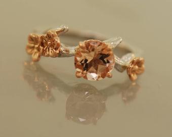 engagementring, alternative engagement ring, twig engagement ring, morganite engagement ring, branch ring, cherry blossom ring, branch ring