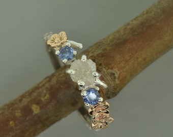 engagement ring, alternative engagement ring, cherry blossom ring, raw diamond ring, elvish engagement ring, aquamarine ring,