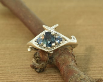 Criss cross antler with sapphires, sapphire ring, 3 stone ring, alternative engagement ring, antler ring, teal sapphire, peacock sapphire