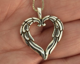 Angel Heart Pendant, wing pendant, angel heart necklace, heart necklace, silver heart, angel wing necklace, heart pendant,