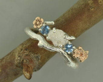 engagement ring, alternative engagement ring, cherry blossom ring, raw diamond ring, elvish engagement ring, aquamarine ring,raw stone ring