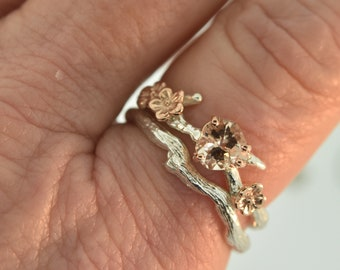 Cherryblossomring, alternative engagement ring, twig engagement ring, morganite engagement ring,heartmorgqanite, branch ring