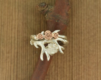 Antler Ring 2 Set with Rose Gold Flowers, Raw Diamond Alternative Engagement Ring,  Twig Diamond Ring, Raw Stone Ring