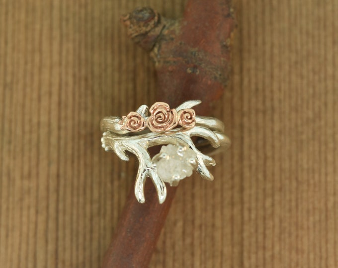 Featured listing image: Antler Ring 2, Rose Gold Flowers, Raw Diamond Alternative Engagement Ring,  Twig Diamond Ring, Raw Stone Ring